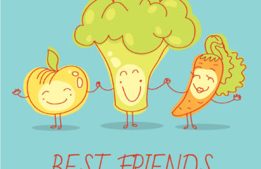 Healthy food for children. Apple, broccoli and carrot. Blue background